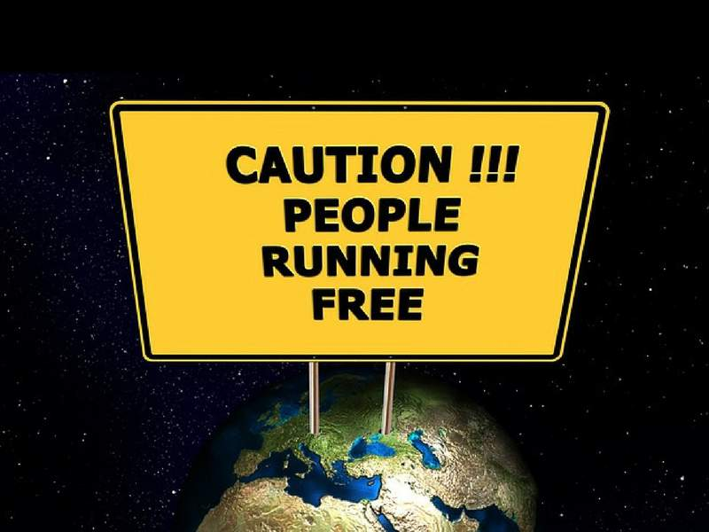 people runnung free earth satire image